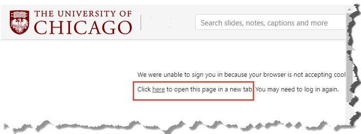 Look for a link in the error message that enables you to view the content in a new window.