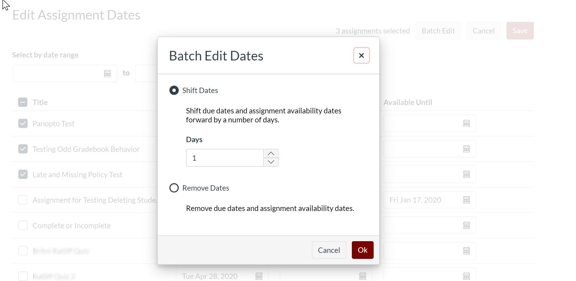 Batche Edit Dates dialog box