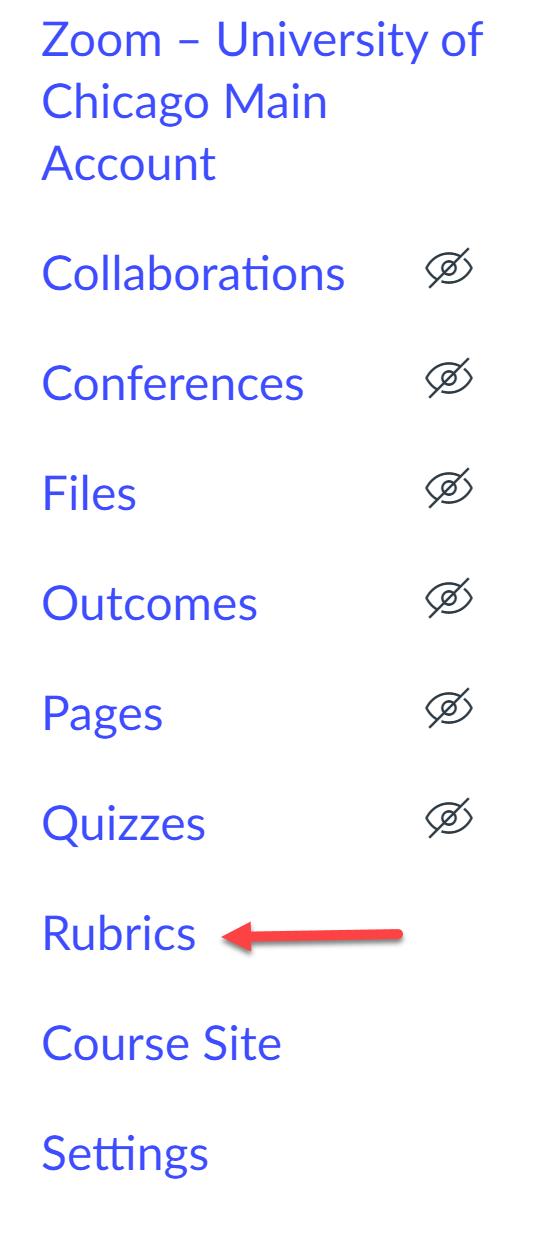 Rubrics in course navigation menu