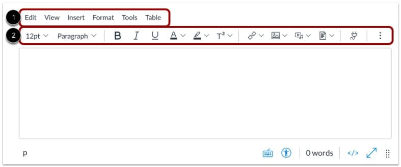 New Rich Content Editor with Menu Bar and Toolbar Indicated