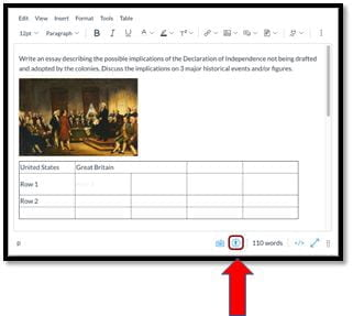 Rich Content Editor with Accessibility Checker indicated