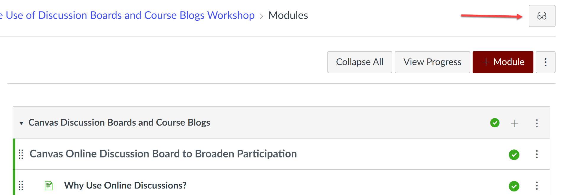 Modules Page with Student View Button Indicated