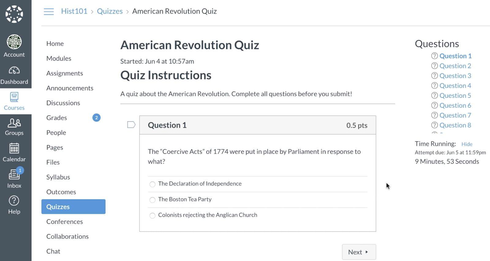 Example Canvas Quiz