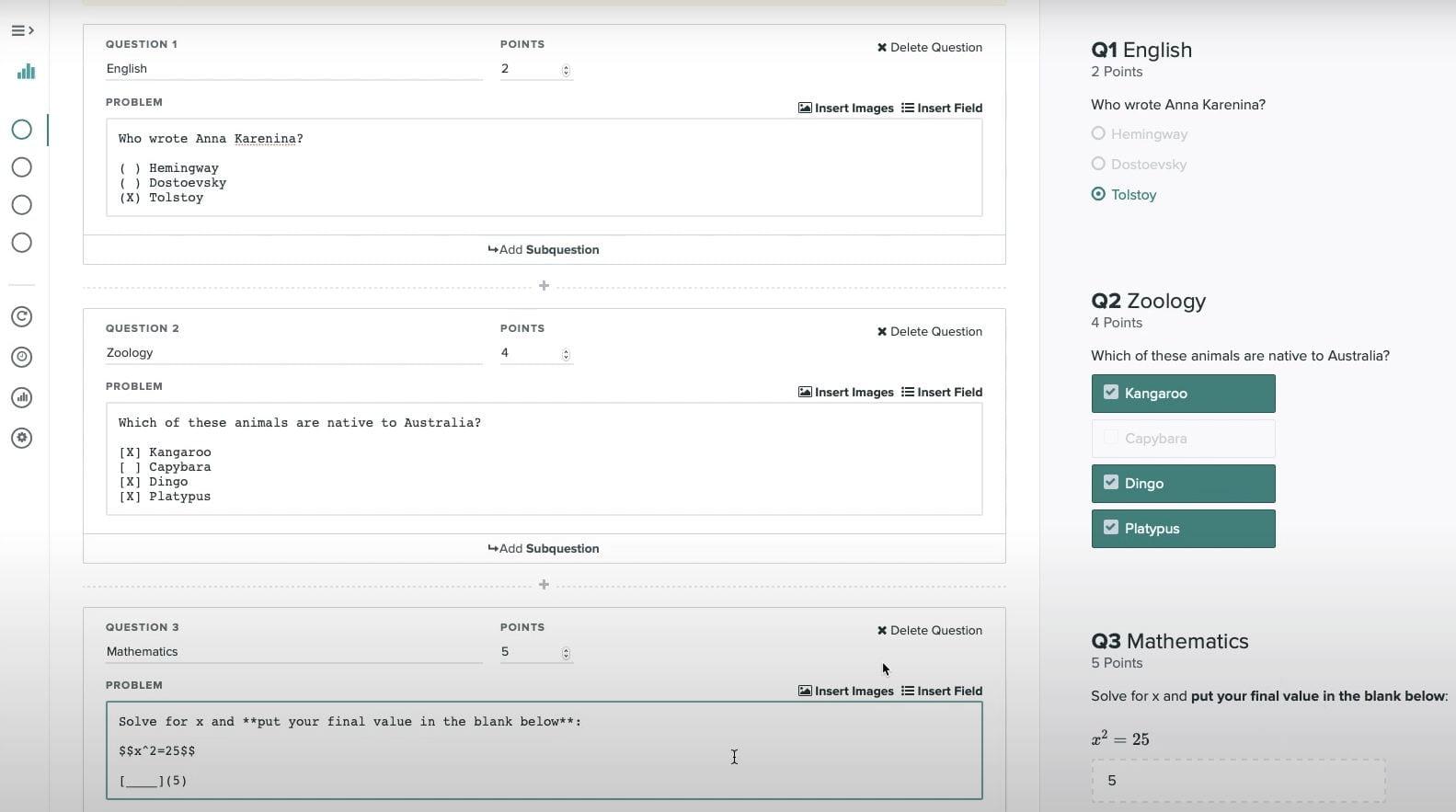 Example Gradescope Online Assignment