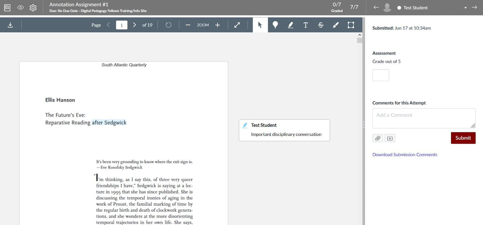 SpeedGrader with annotation assignment open