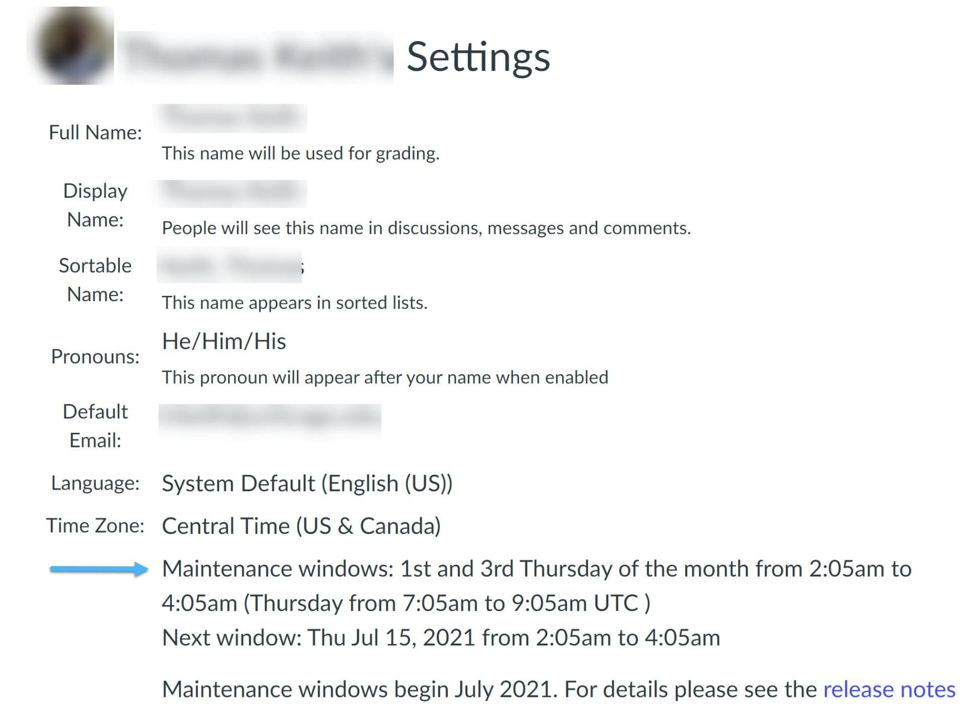 Canvas Settings with Maintenance WIndow Indicated