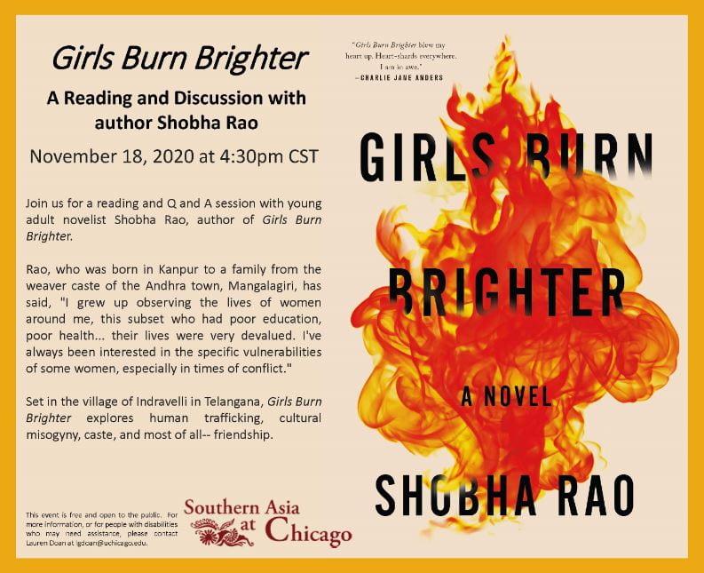 Flyer for Girls Burn Brighter event