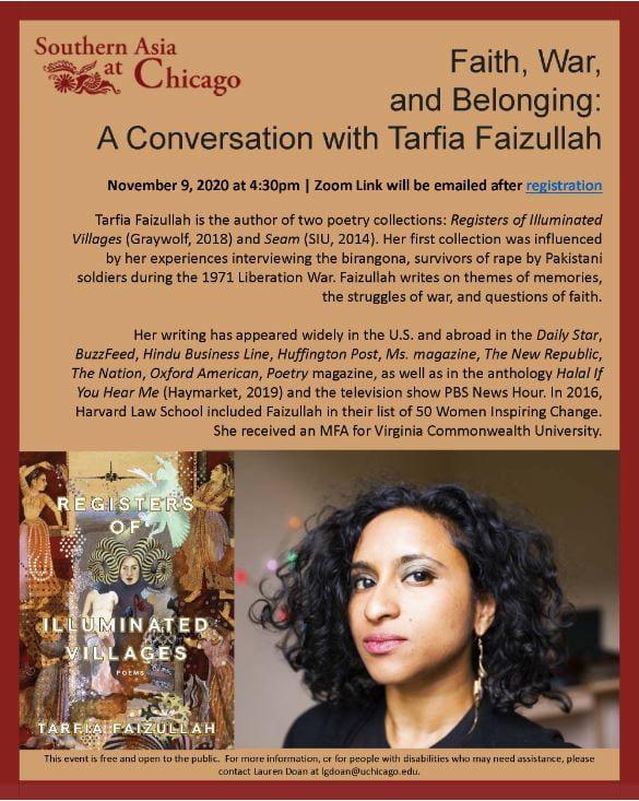 Event Flyer for Faith, War, and Belonging: A Conversation with Poet Tarfia Faizullah