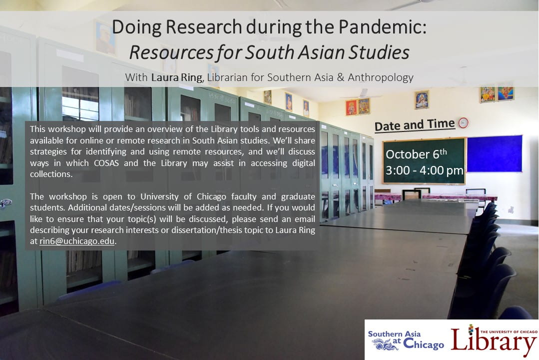 Flyer for Doing Research during the Pandemic: Resources for South Asian Studies
