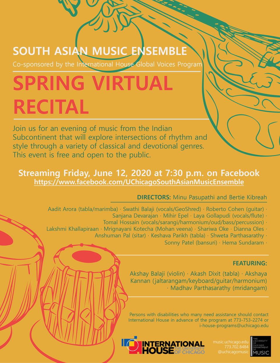 Flyer for Spring Virtual Recital