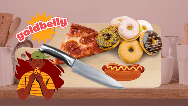 man eating pizza with background of cutco knife, hotdog, donuts and pizza and goldbelly logo
