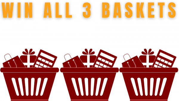 """three generic gift baskets, with """"win all 3 baskets"""" captions"""