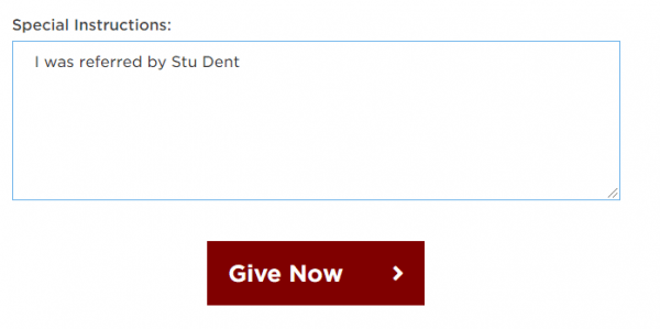 screenshot of UChicago SCG giving form with