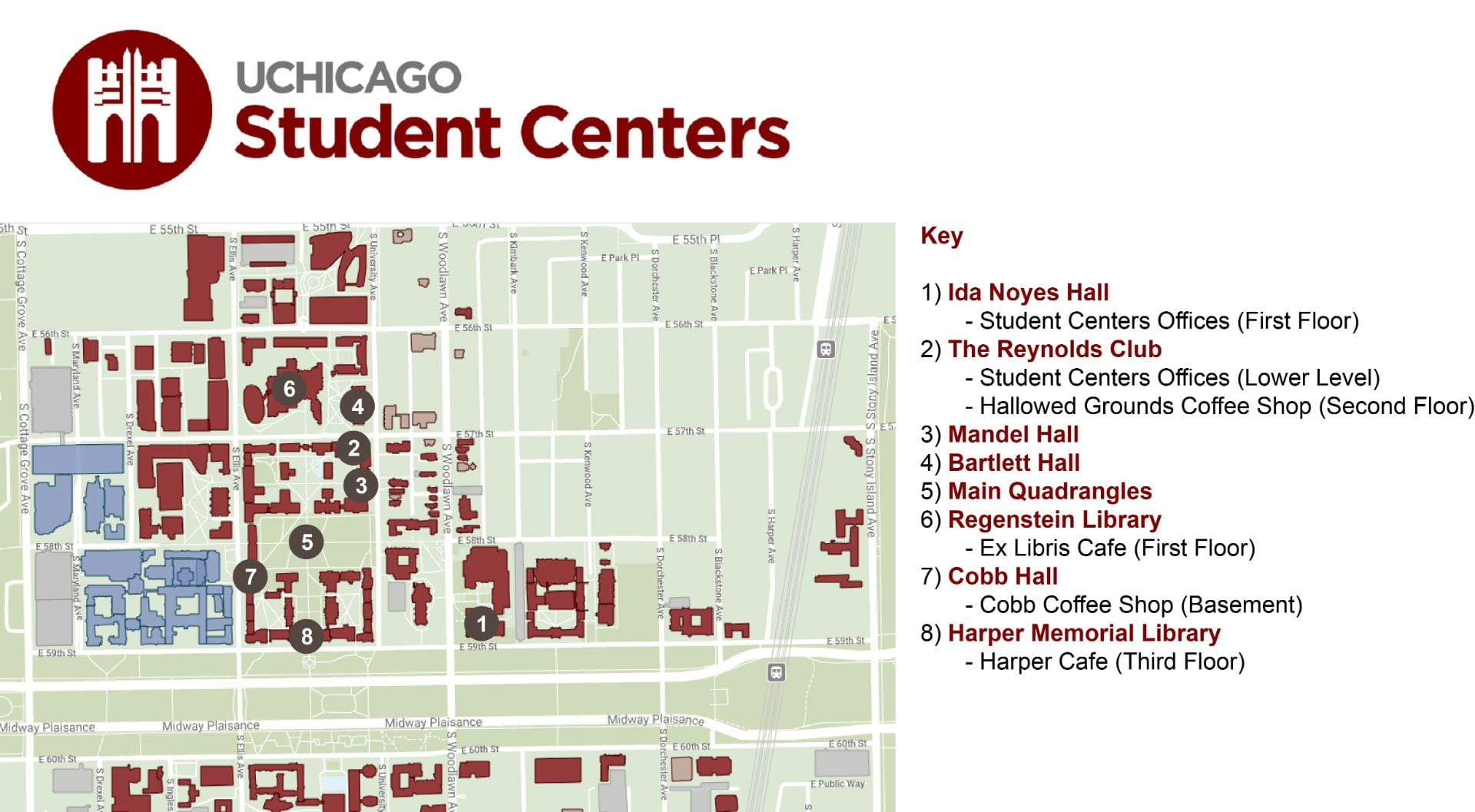 Student Centers Locations Map