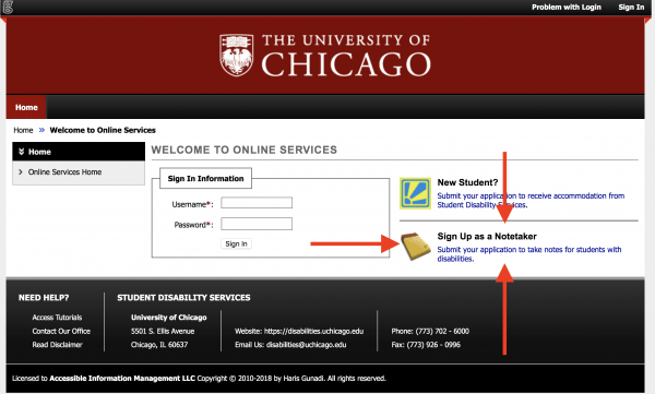 AIM student portal home page with arrows indicating link to notetaker application.