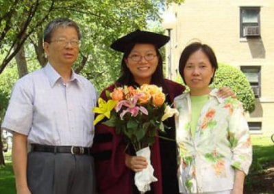 Catherine So with her parents