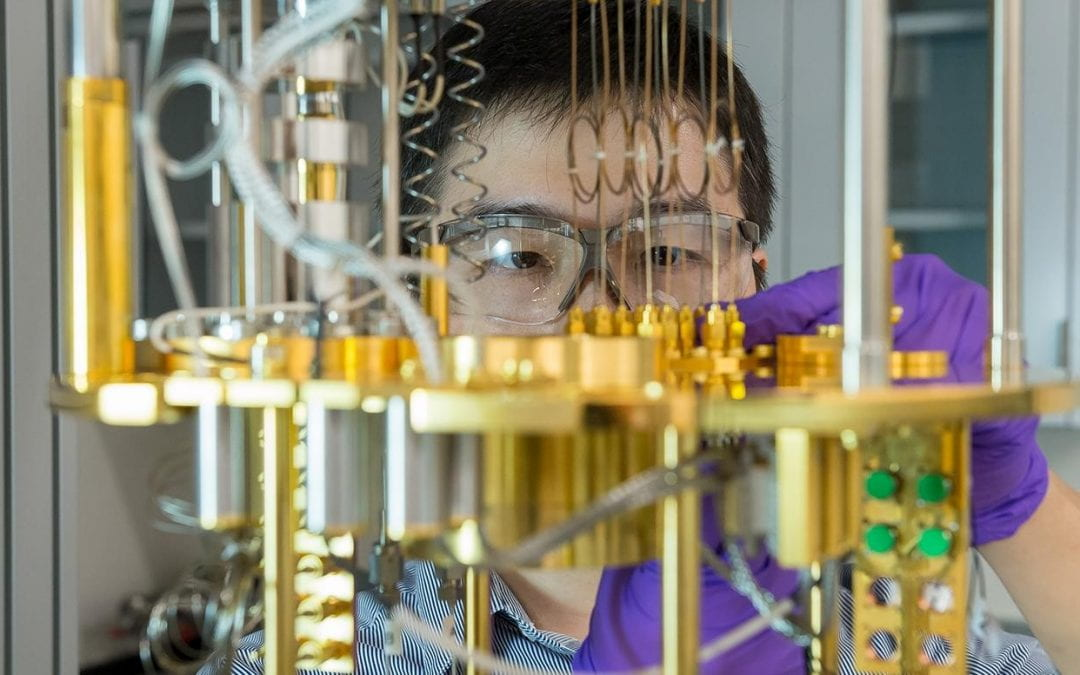 Argonne scientist Dafei Jin observes a dilution refrigerator