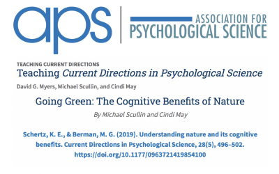 "Association for Psychological Science (APS) featured ENL's article and research on their ""Teaching Current Directions"" website."