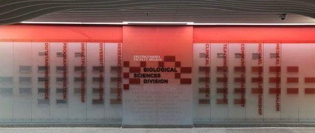 Ellis Avenue Lobby Faculty Awards Feature Wall