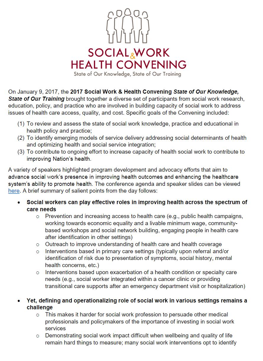 2017 Social Work & Health Convening Report