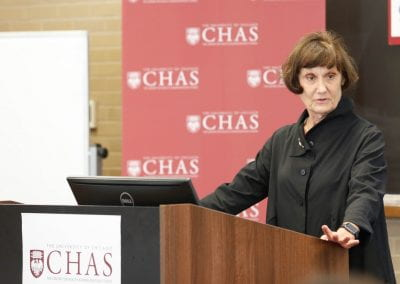 Jeanne Marsh speaking to an audience at the 2019 CHAS Paris Conference