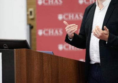 Attendee speaking at the 2019 CHAS Paris Conference