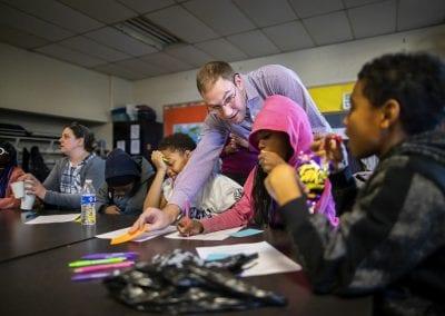 Ethan Nelson and Karen Detlefsen at Comegys School