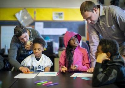 Karen Detlefsen and Ethan Nelson at Comegys School