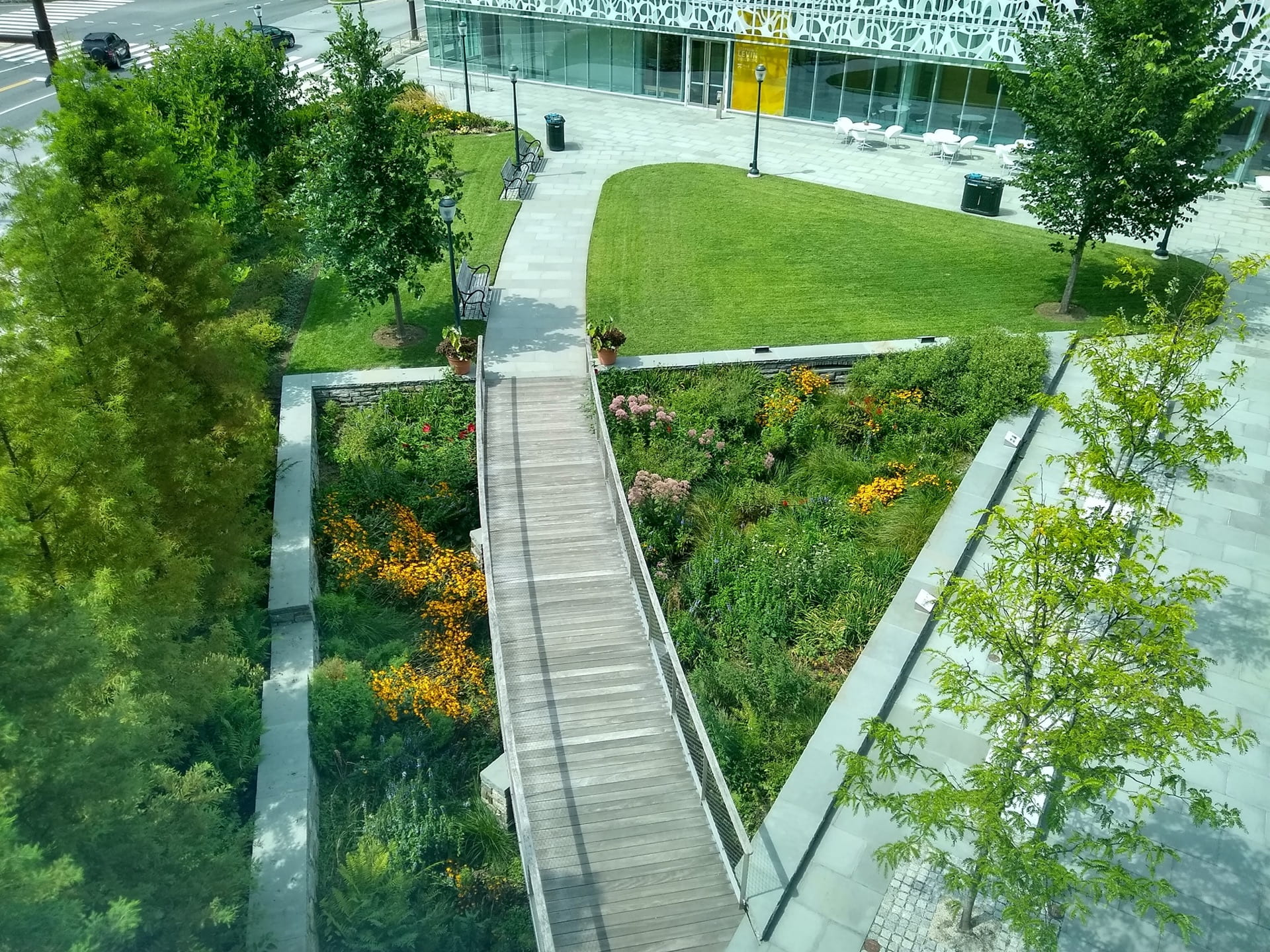 An aerial view of the Rain Garden in full bloom, seen from Lynch Labs.