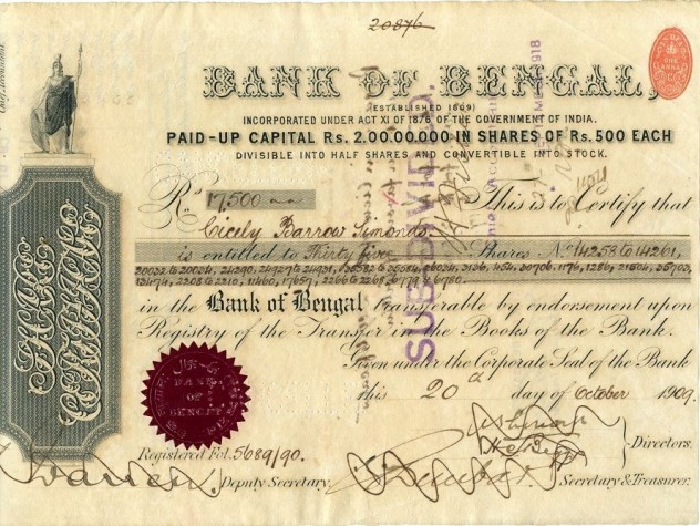 Bank of Bengal Share Certificate