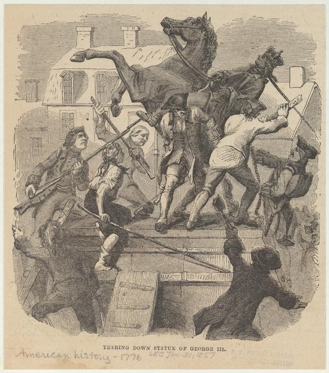 "The New York Public Library. ""Tearing down statue of George III"" The New York Public Library Digital Collections. 1857-01-31. Source: http://digitalcollections.nypl.org/items/510d47e0-f56f-a3d9"