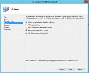 New Deployment Share Options