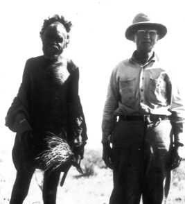 Frank Reeves with an Aboriginal guide at the Crater in 1944