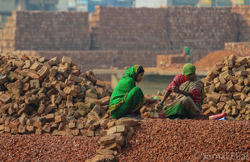 Brick workers near Dhaka, Bangladesh