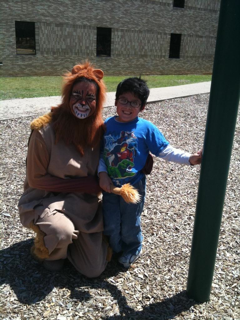 It takes more than a Cowardly Lion to scare a smile off of Aaron's face!