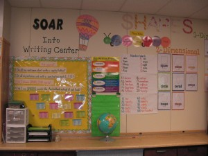 Writing Center and Math Vocabulary Wall
