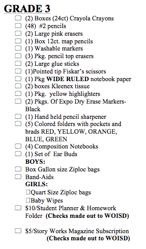 School Supplies List 3rd Grade