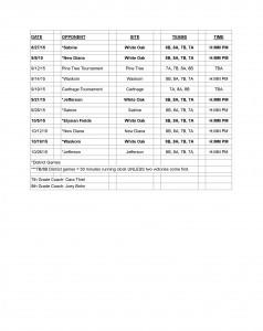 2015 JH Schedule
