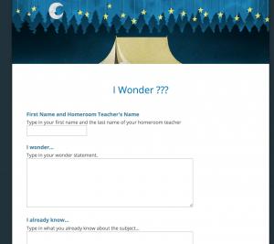 I Wonder Google Form
