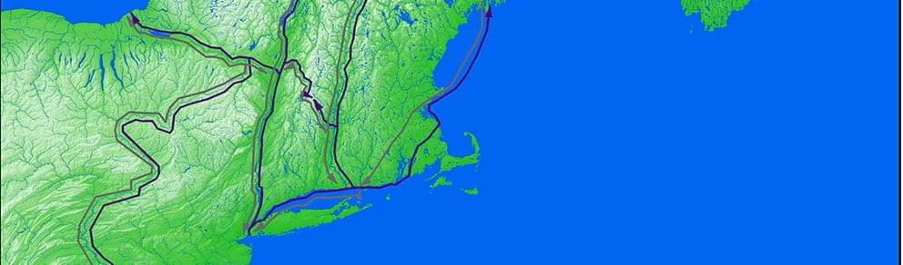 major routes of the wampum and fur trade in the northeast