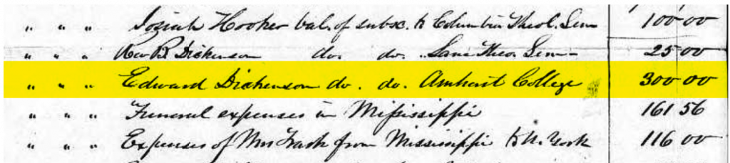 Highlighted portion of Trask's will showing $300 debt to Amherst College