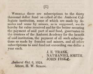 Trask's guarantee of the subscriptions to the 30k fund made by women and minors