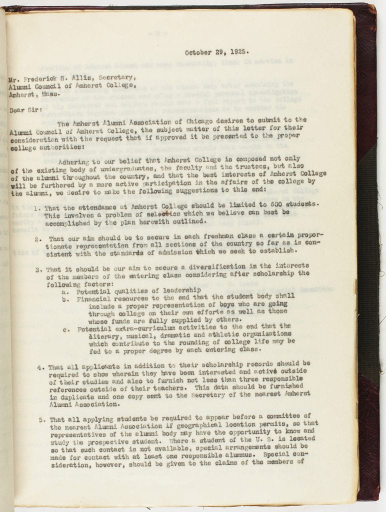 Page from the 1924 - 1948 ledger of minutes of the Executive Committee of the Alumni Council