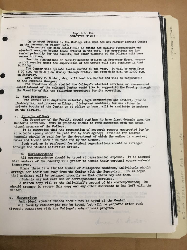 Dean of Faculty public meeting minutes & Committee of Six minutes, box 3 folder 1, 1958