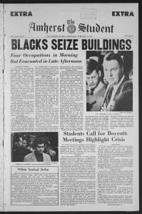 """Front page of February 18 1970 Amherst Student with headline of """"Blacks Seize Buildings"""""""
