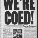 """Front page of November 2 1974 Amherst Student with """"We're Coed!"""" headline"""