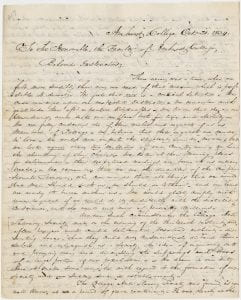 First page of a letter from the Anti-Slavery Society to the Faculty of the College, 1834.