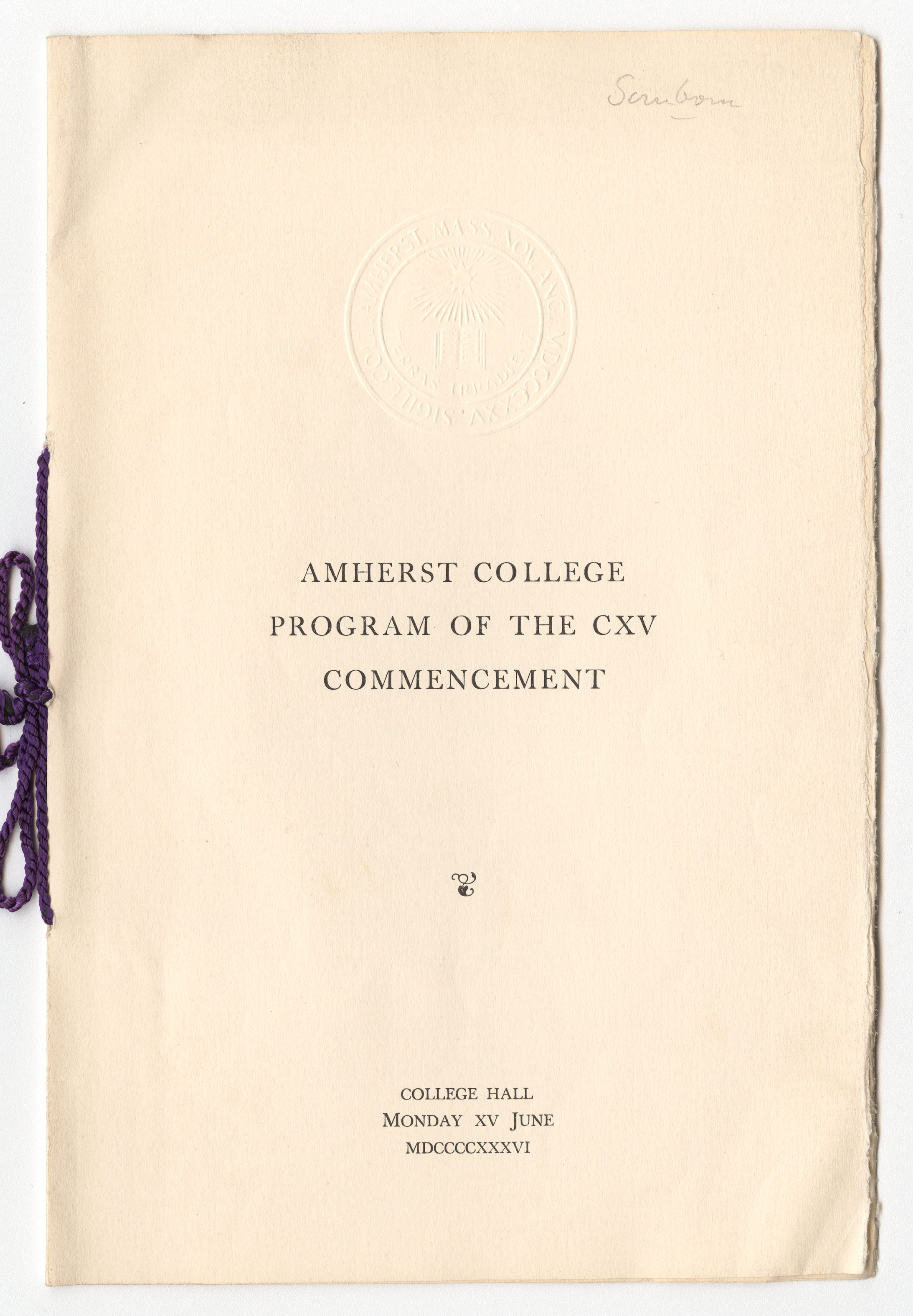 Program of the 1936 Amherst College commencement ceremony