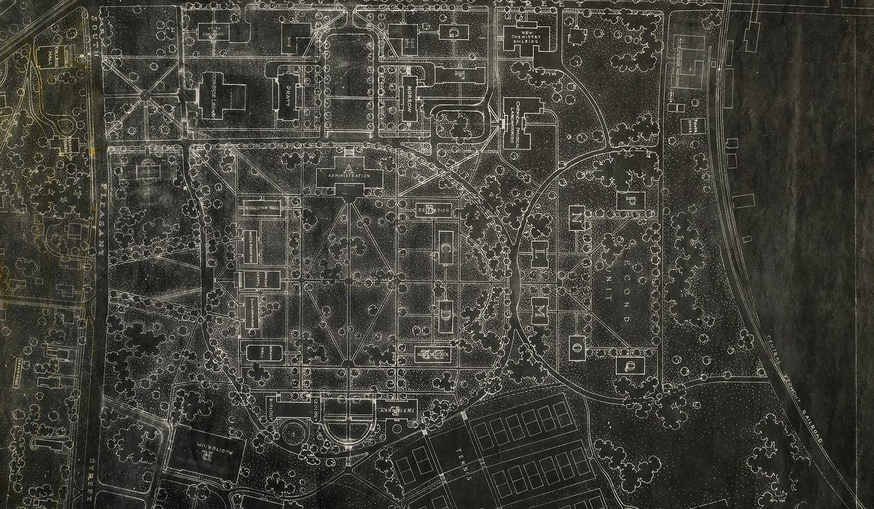 A black and white architectural landscape drawing showing campus buildings and trees.