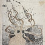 Drawing of octopus devouring a ship